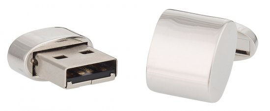 USB Flash Drive Silver Cufflinks