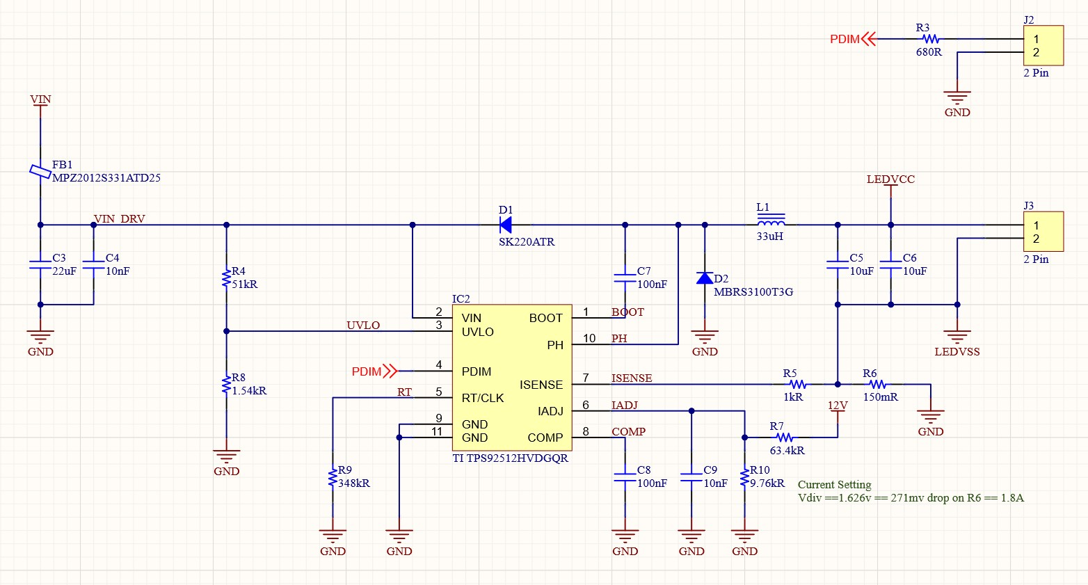 LED Driver Schematic using TI TPS92512HV and passives