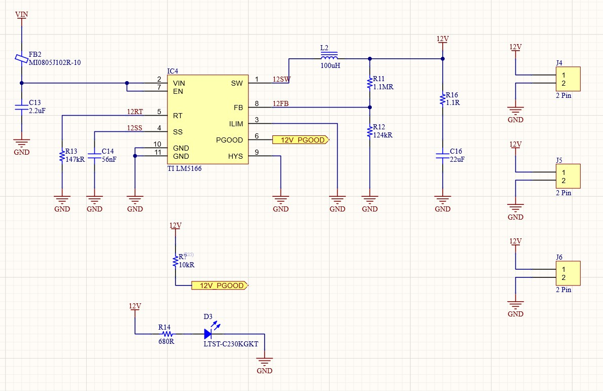 The schematic for the 12V power supply using the TI LM5166 and some passives