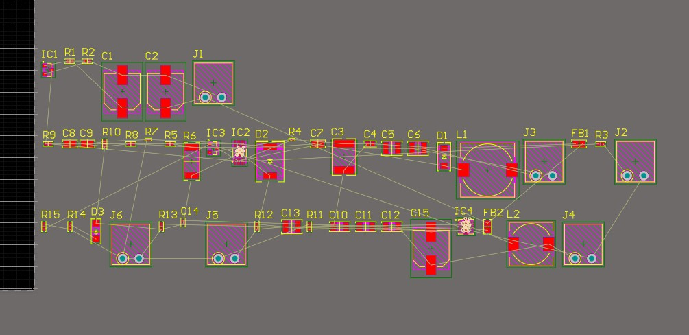 Altium Designer 20 PCB layout with multiple components laid out off board