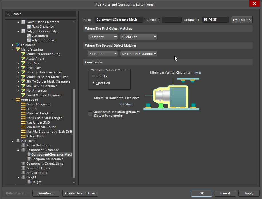 Altium Designer 20 PCB Rules and Constraints Editor showing Component Clearance Mech