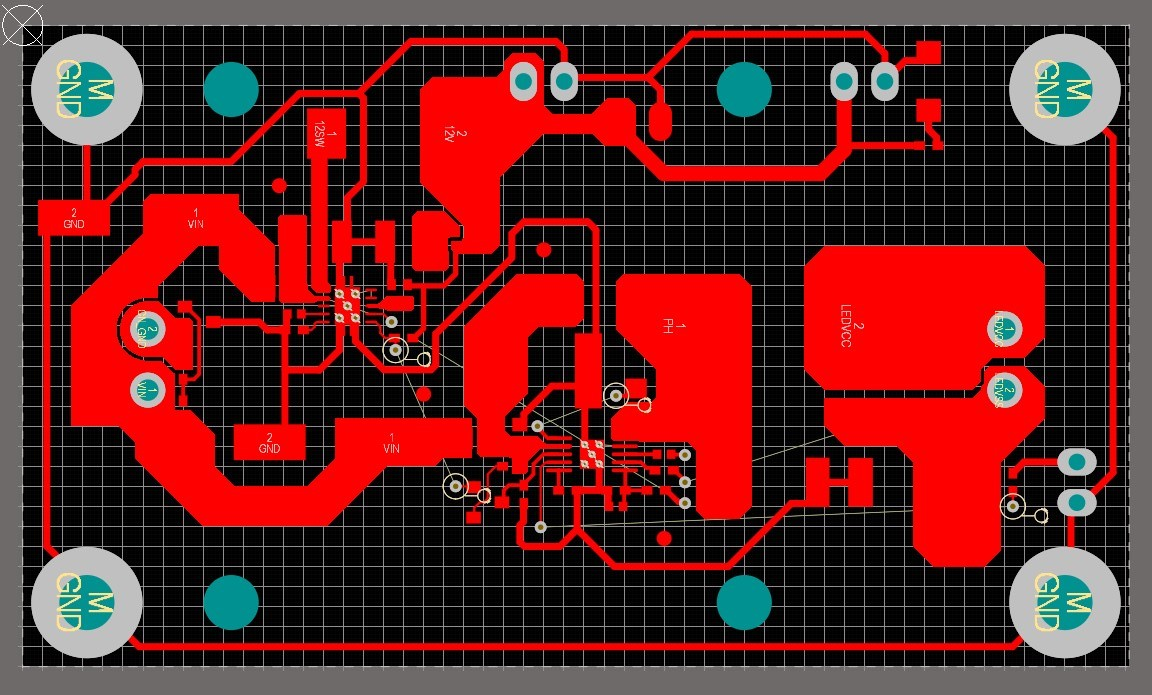 The final copper layout of the 65W single IC LED driver