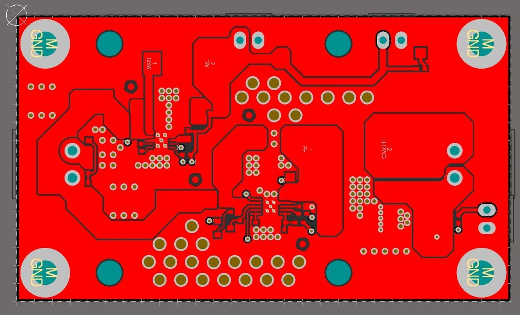 AD20 65W single IC LED driver vias and copper pours