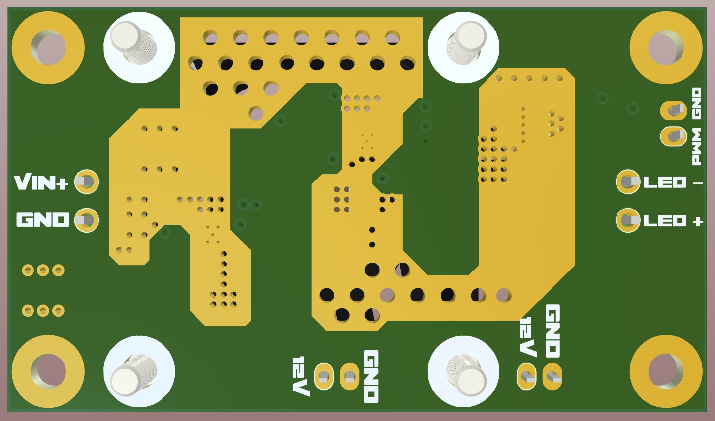 AD20 3D view final render of the bottom of the board 65W single IC LED driver