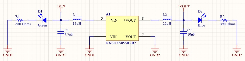 AD20 Isolated USB Connection NXE2S0505MC power isolation schematic