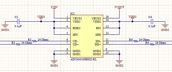 AD20 Isolated USB Connection ADUM4160BRIZ USB signal isolation schematic