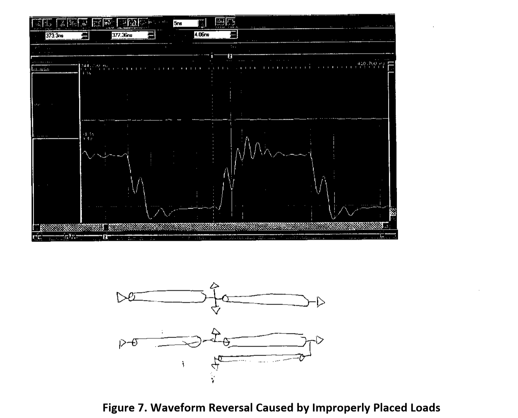Figure 7. A photocopy of a paper containing a screenshot and a hand drawn schematic trying to describe waveform reversal caused by improperly placed loads.