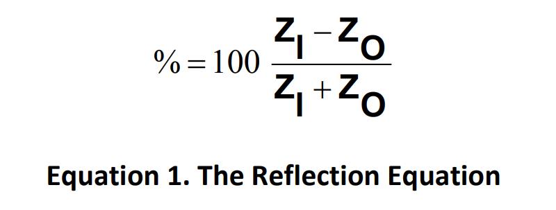 Percentage of reflection = 100 * (ZI - ZO) / (ZI + ZO)