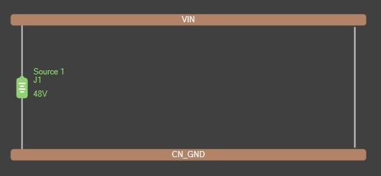 Altium PDN Analyzer simulation with VIN and CN_GND voltage levels, and a 48V source J1 between them