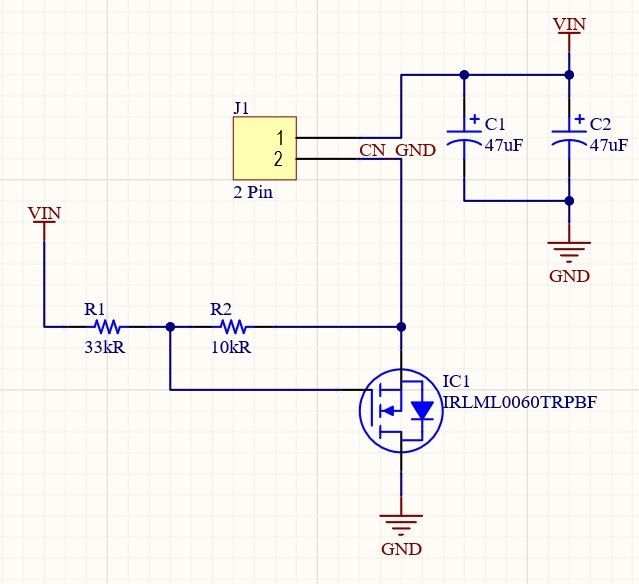 Altium Designer schematic for reverse polarity protection of a 65W single IC LED Driver