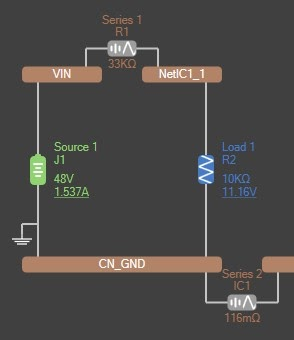 Altium PDN Analyzer Net containing a source, a load, multiple resistances, and multiple nets.