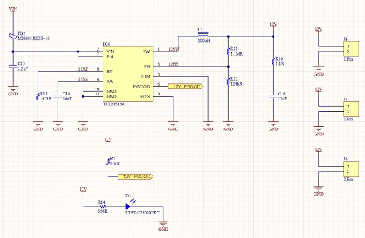 Altium Designer schematic for a TI LM5166 12V switched mode regulator of a 65W single IC LED Driver