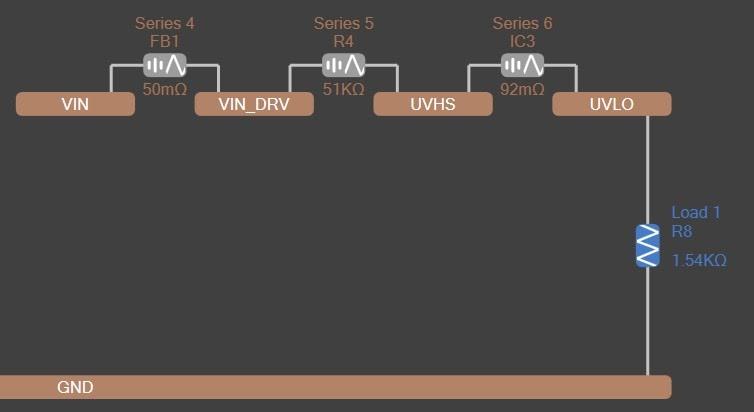 Altium PDN Analyzer Net extension to UVHS and UVLO through series resistances