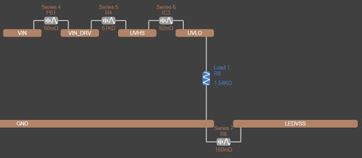 Altium PDN Analyzer Net extension of GND to LEDVSS through series resistance R6