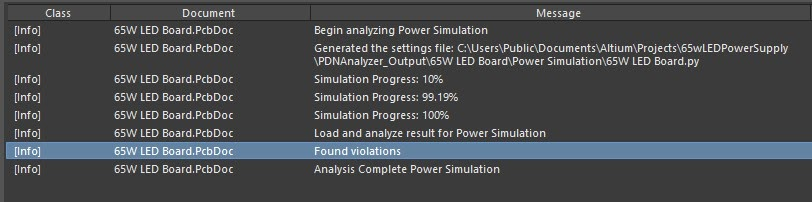 Altium PDN Analyzer simulation analysis found violations