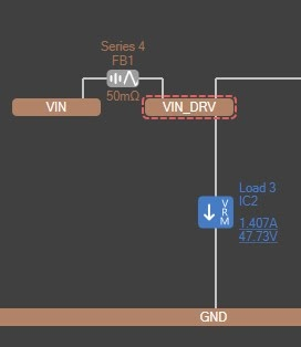 Altium PDN Analyzer Net with a violation in VIN_DRV highlighted in red