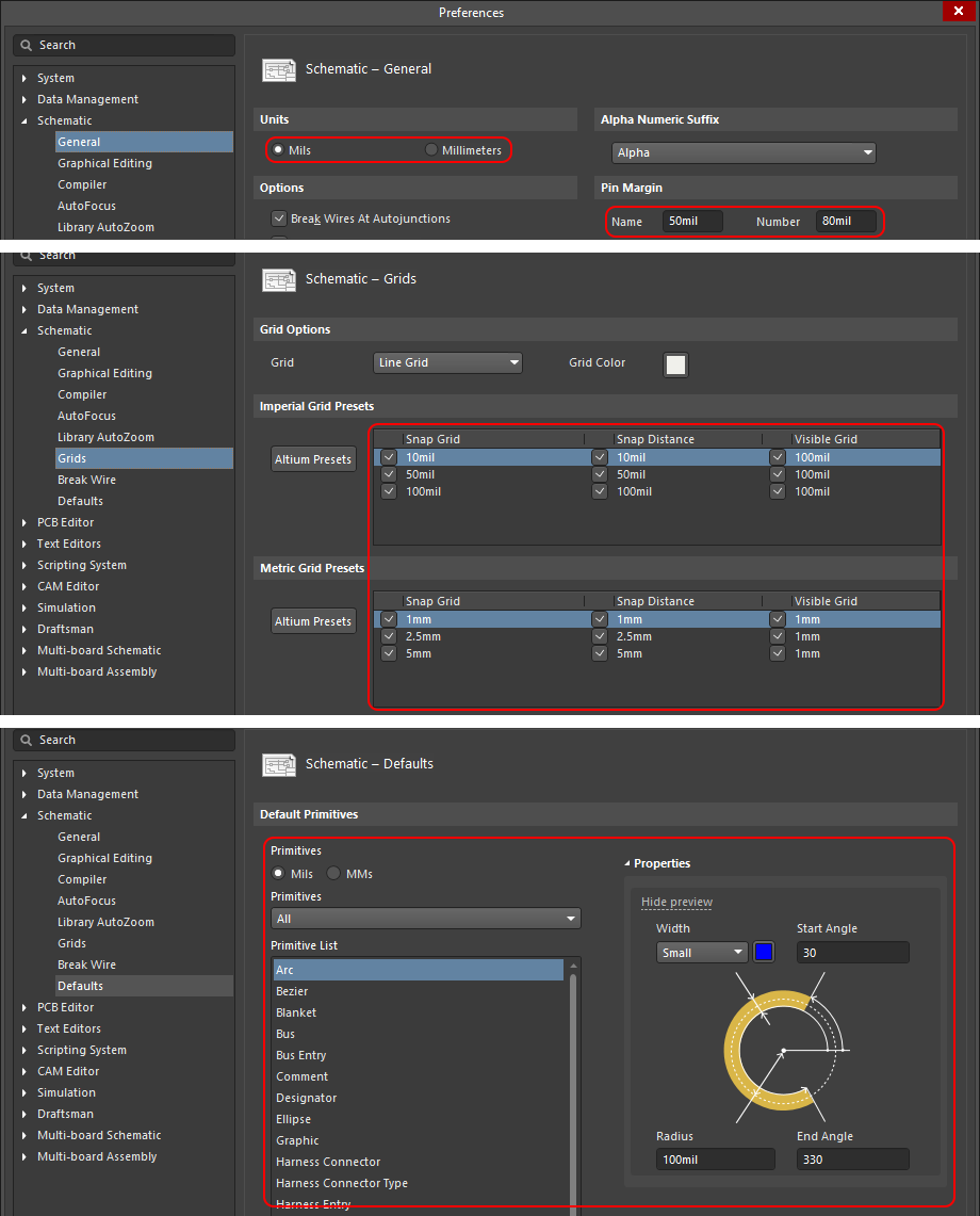 Screenshot of AD20's schematic preferences in switching from MM to mil