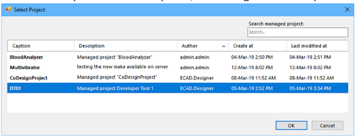 Figure 2. Select Project interface of concord pro showing a newly designed project