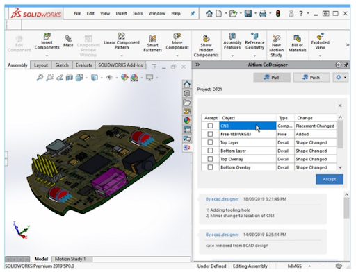 Figure 3. SolidWorks screenshot showing the PCB exported from ECAD to MCAD with a changelist in Altium CoDesigner.