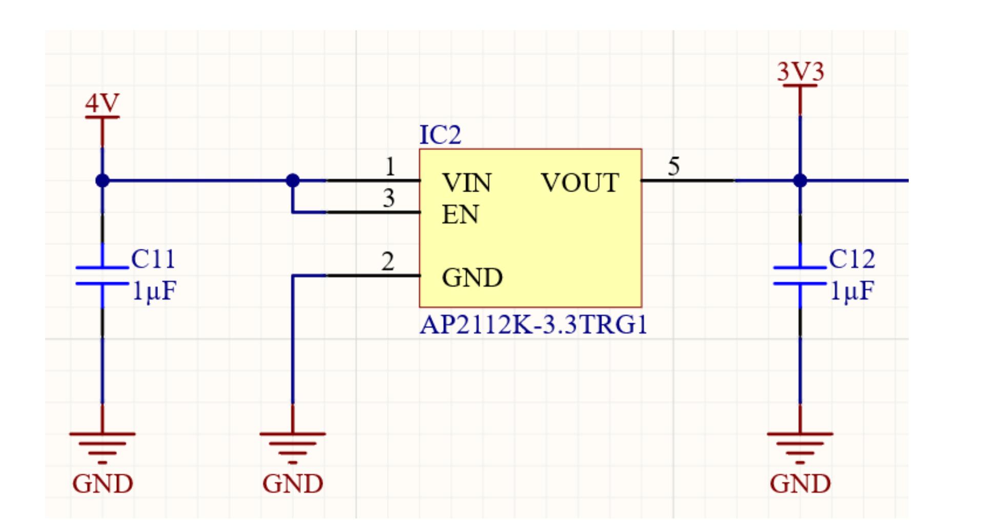 Altium Designer 20 schematic of a low dropout linear voltage regulator using the Diodes Inc AP2112K - 48V to 3.3V Regulator Design