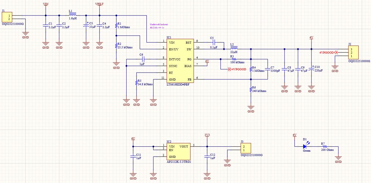 Altium Designer 20 schematic of a full 48V to 3.3V Regulator Design