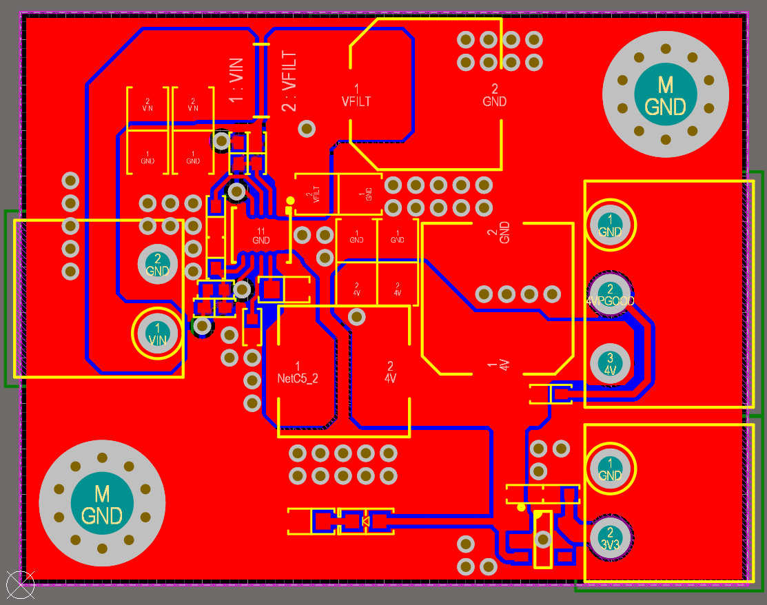 Altium Designer 20 PCB Layout with components and copper for a 48V to 3.3V Regulator Design