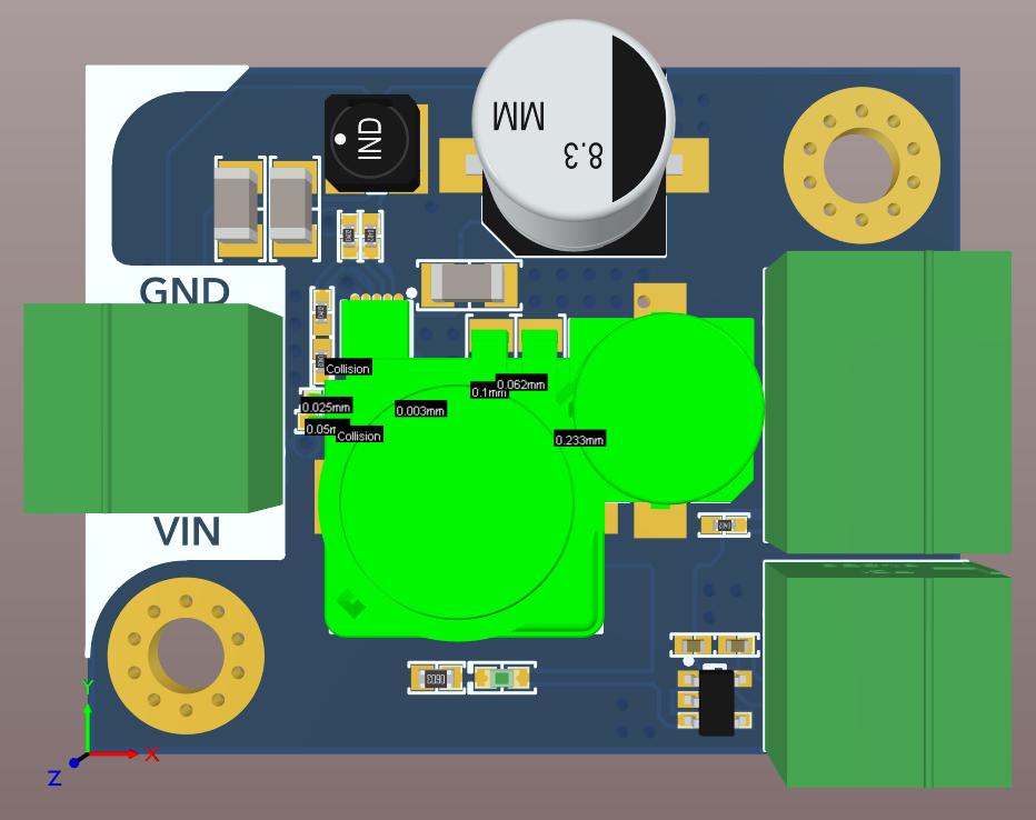 Altium Designer 20 3D board view showing component collision in a board for a 48V to 3.3V Regulator Design Project