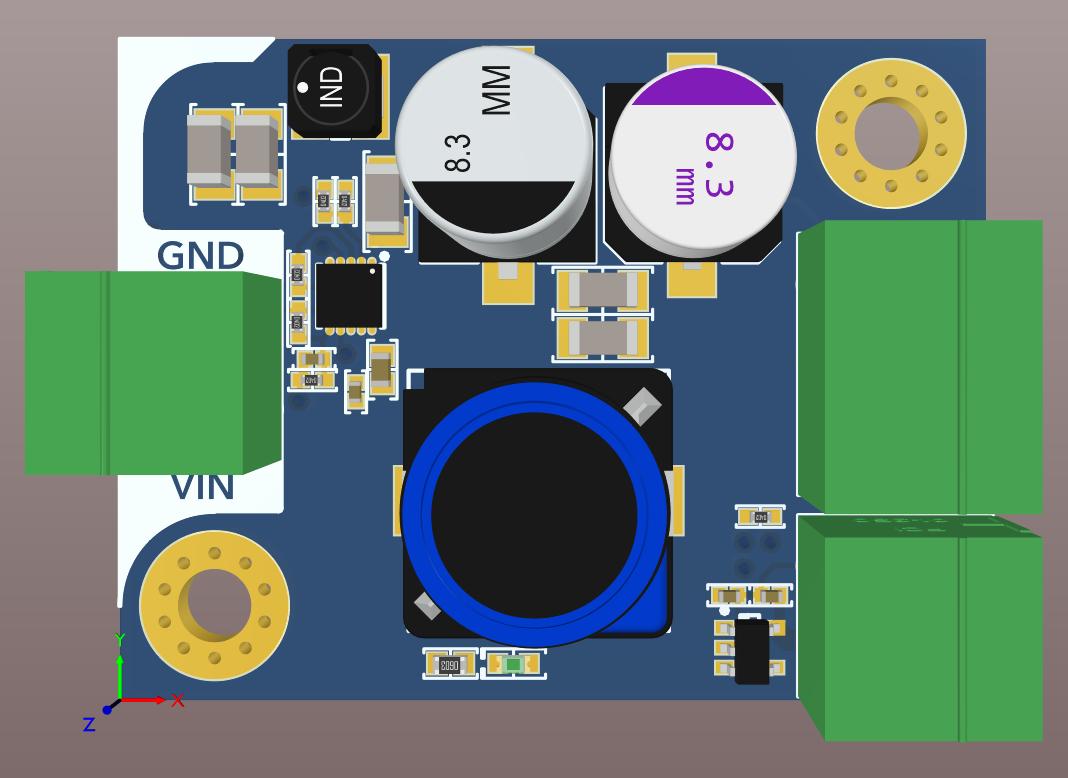 Altium Designer 20 3D board view for a board for a 48V to 3.3V Regulator Design Project