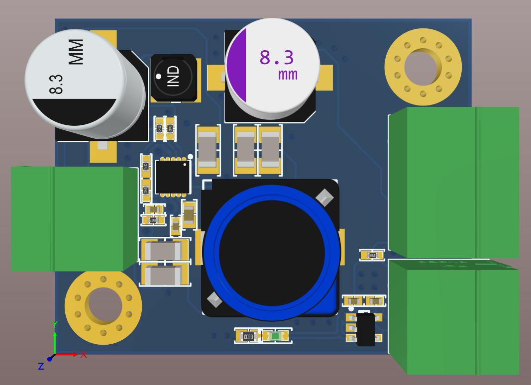 Altium Designer 20 3D board view for a board for the final version of the 48V to 3.3V Regulator Design Project