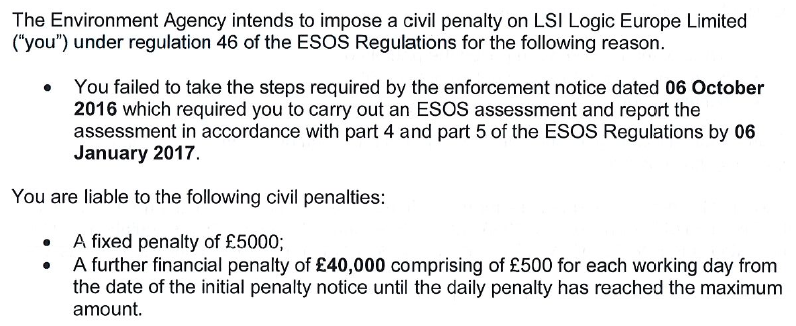 Excerpt from an Notification letter sent from UK`s Environmental Agency ESOS Compliance Enforcement Team