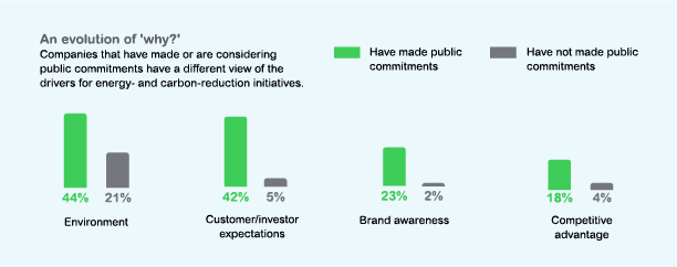 Companies that make public energy or sustainability commitments differ in their motivations.