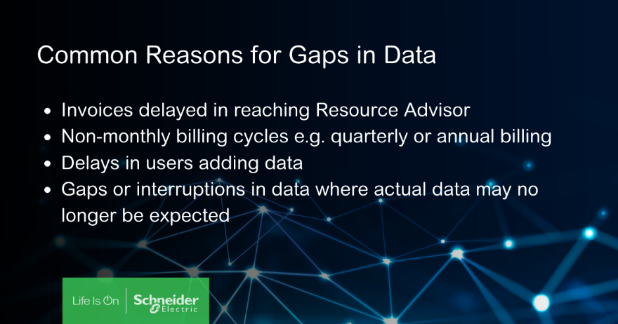 Common reasons for gaps in data