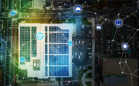 connected assets in a microgrid concept, solar, overhead view