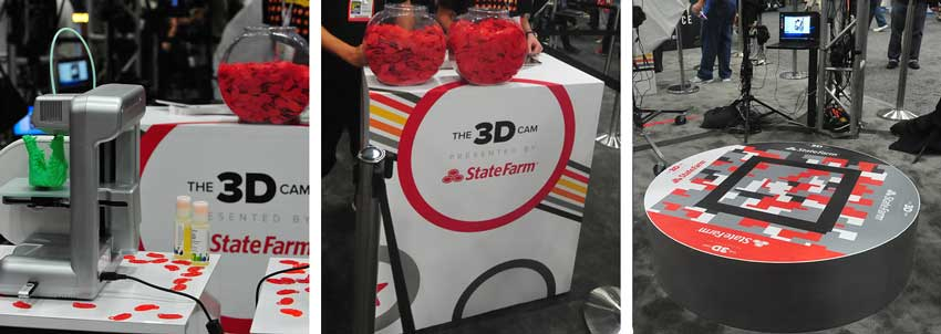 Make your brand the point like StateFarm did with their 3D Cam display.