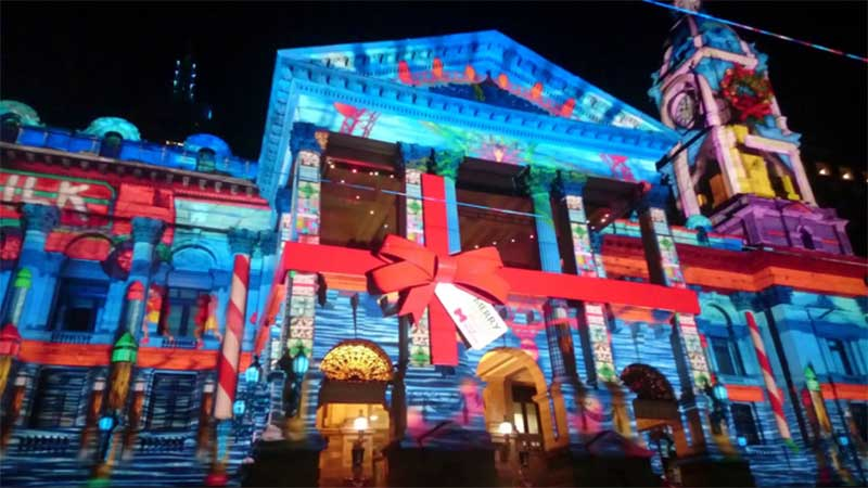 Projection mapping on the facade of a building