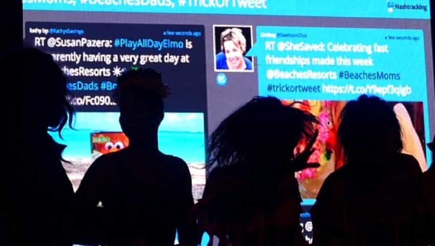 Live Twitter feed display at an event