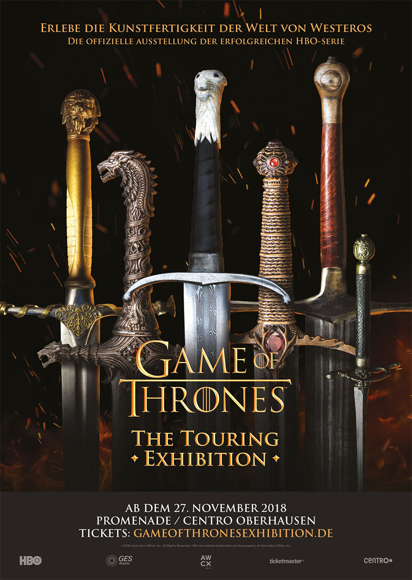 Game of Thrones Touring Exhibition opens on 27 November 2018 at the Centro Promenade in Oberhausen