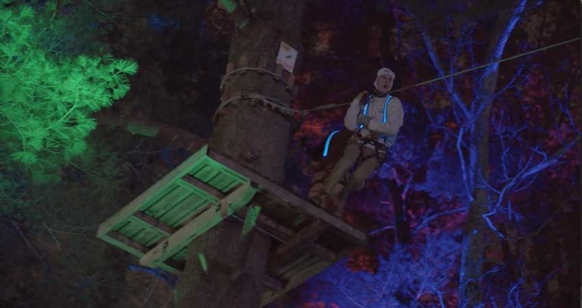 They also had a unique night time zip line course where adventurers wore LED-lined harnesses as they darted through the trees