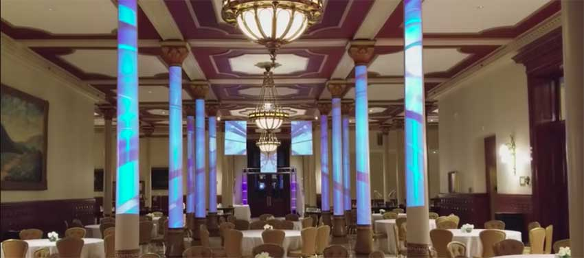 Object video projection turned this ordinary ballroom into a spectacular setting at the Driskill Hotel in Austin TX - Courtesy of Tony Durand