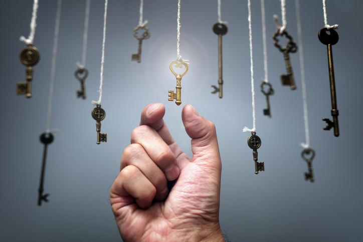 hand grabbing keys