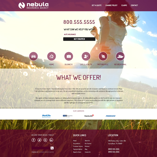 Nebula Insurance Website Builder template design