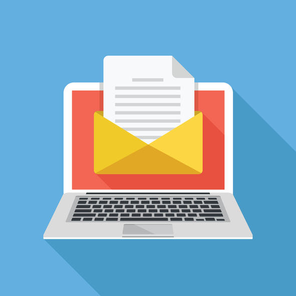 laptop with email letter