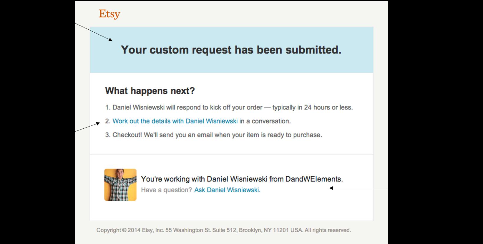 Etsy email screenshot