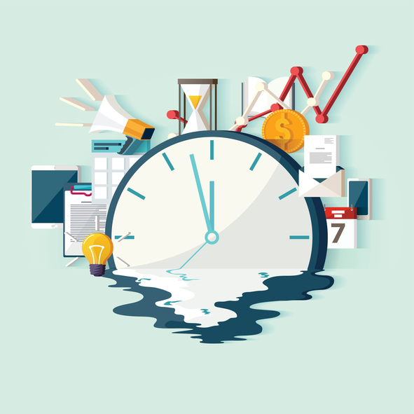 clock with crowd of office items behind it