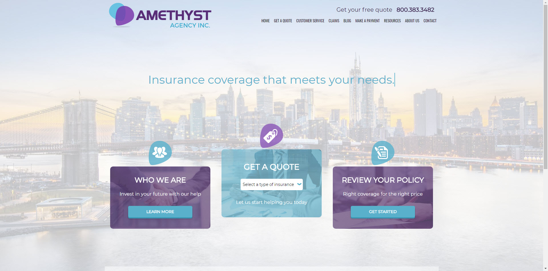 Amethyst insurance website template