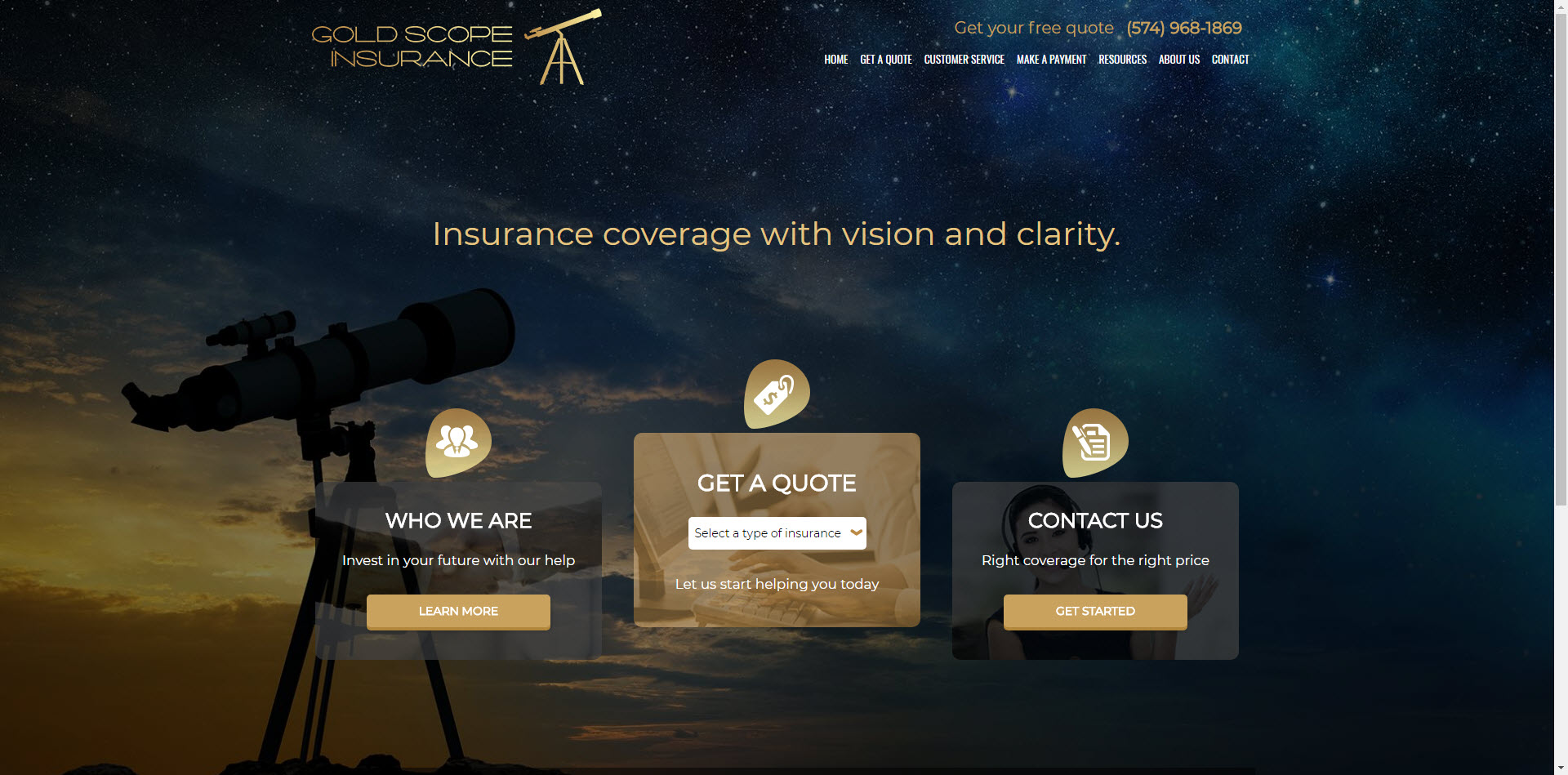 Gold Scope Insurance Agency Website ITC Client