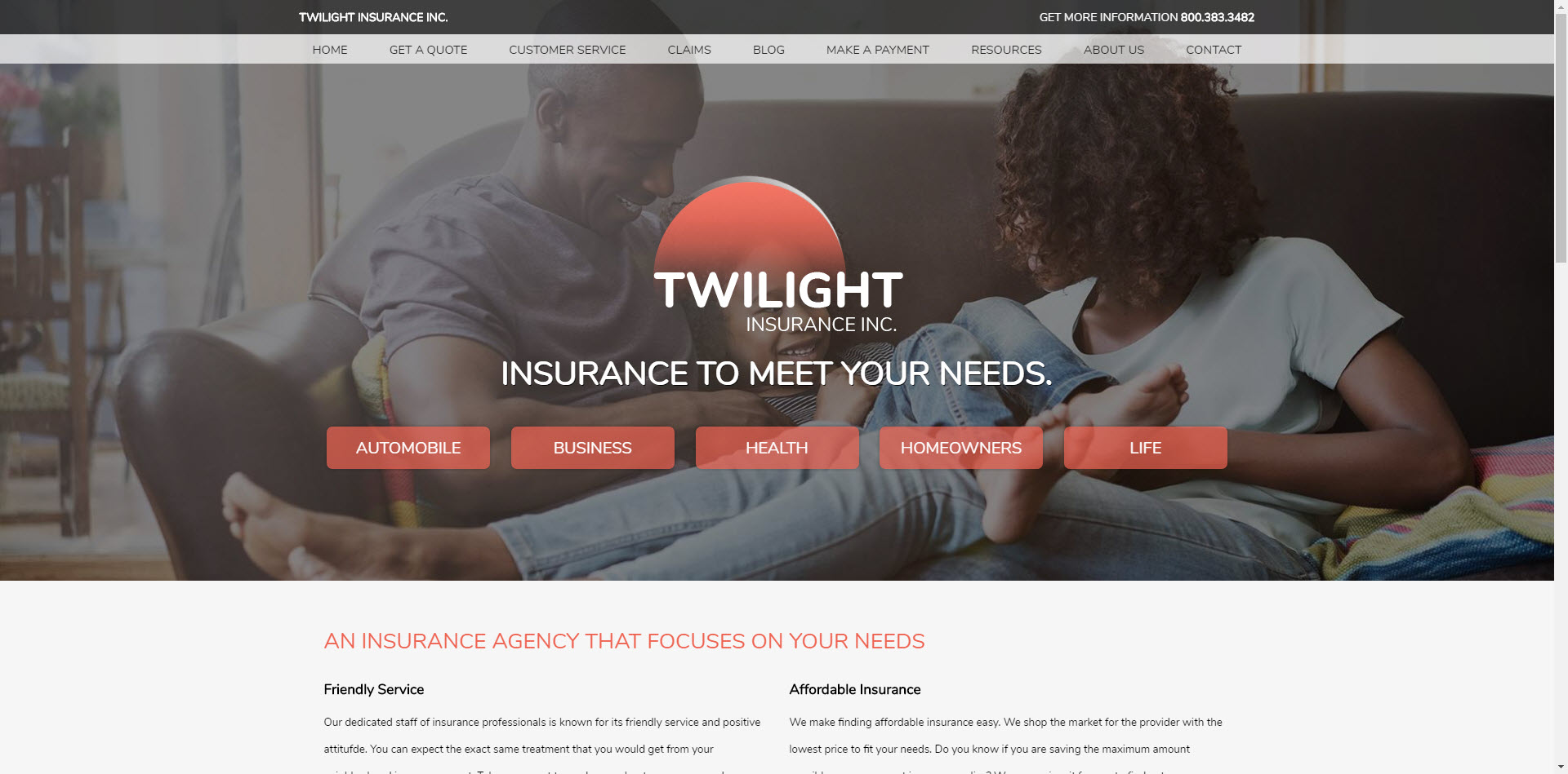 Twilight insurance website builder template