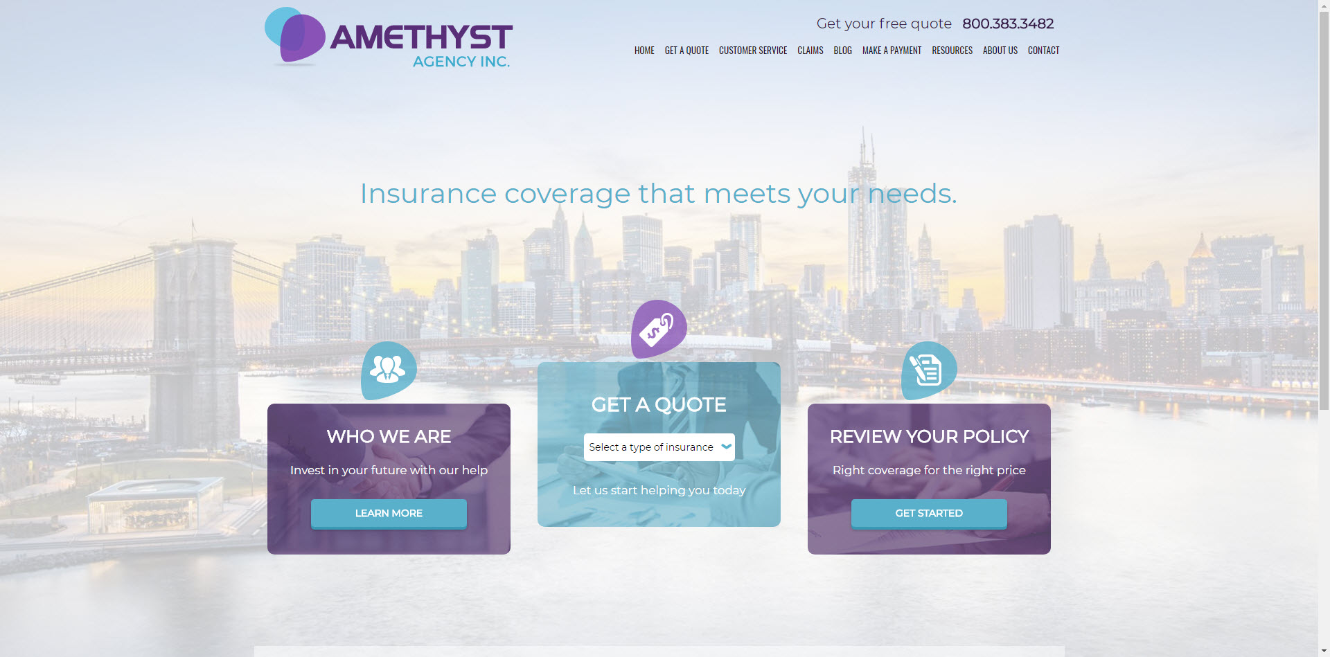 Amythest ITC insurance website template