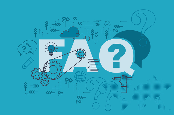 Blue FAQ graphic