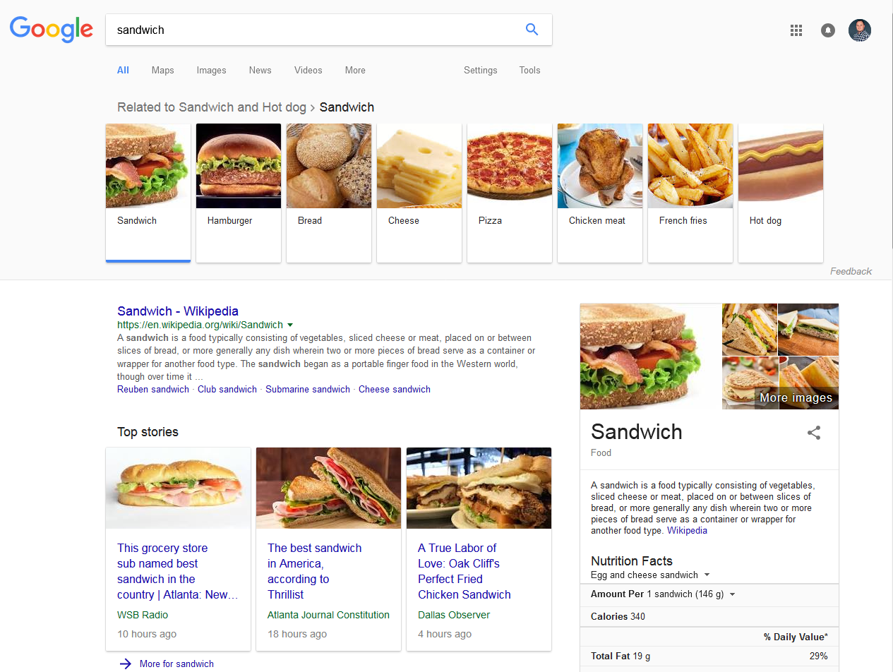 Search engine results page for sandwich